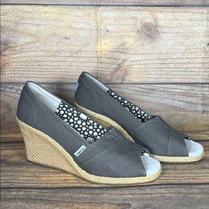 TOMS grey peep toe wedges